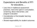 expectations and benefits of rti for educators