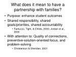 what does it mean to have a partnership with families