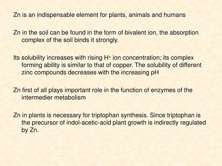 Zn is an indispensable element for plants, animals and humans