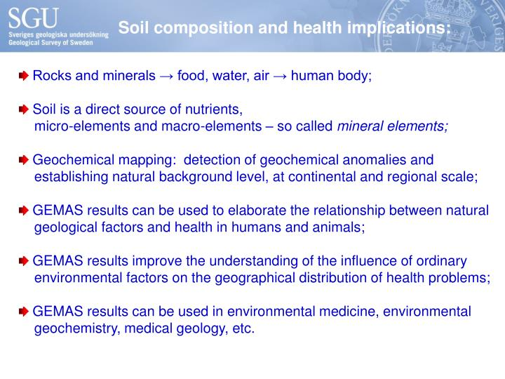 Soil composition and health implications: