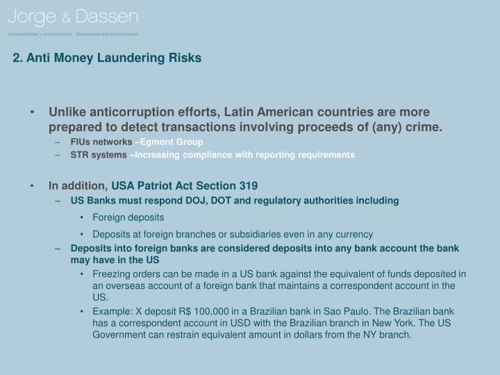 2. Anti Money Laundering Risks
