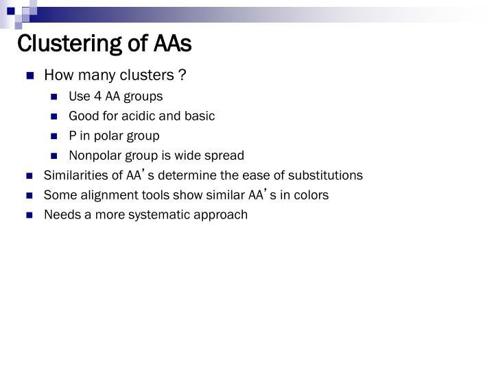 Clustering of AAs