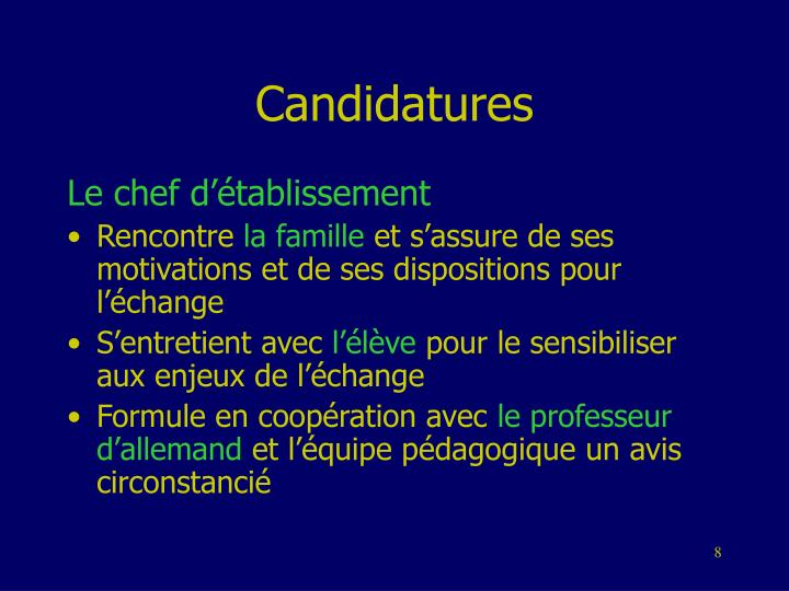Candidatures