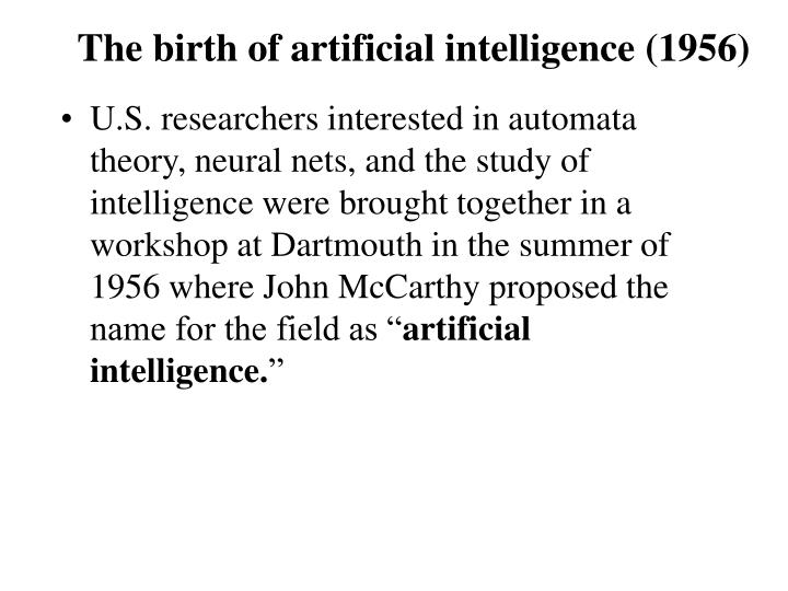 The birth of artificial intelligence (1956)