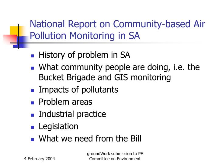 National report on community based air pollution monitoring in sa