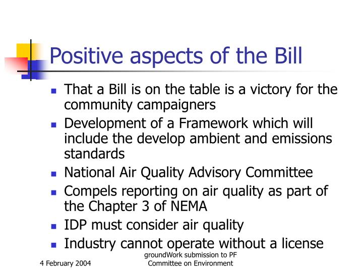 Positive aspects of the Bill