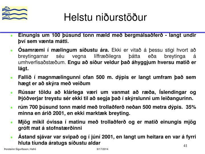 Helstu niðurstöður