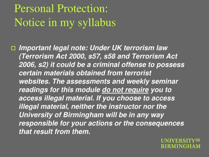 Personal Protection: