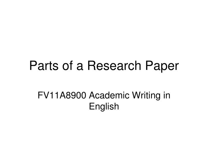 parts of a research paper n.