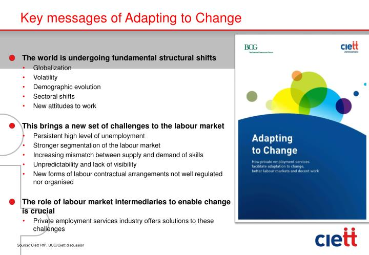 Key messages of adapting to change