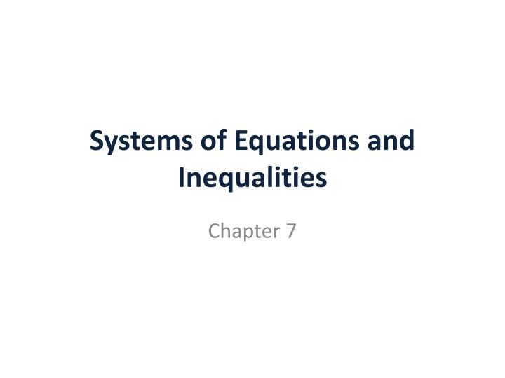 systems of equations and inequalities n.