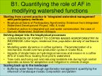 b1 quantifying the role of af in modifying watershed functions