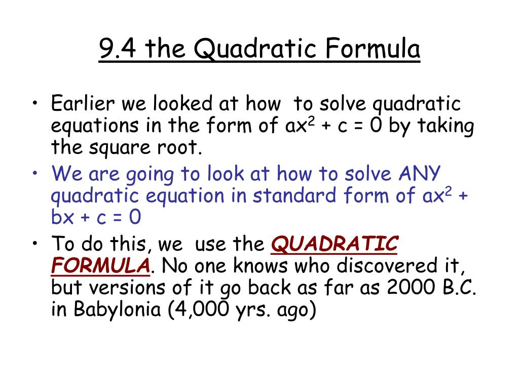 Quadratic equation ppt