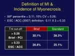definition of mi incidence of myonecrosis