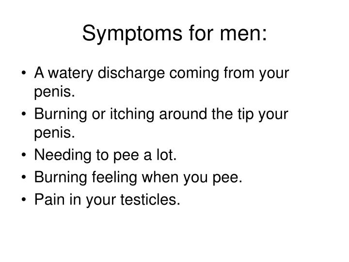 Symptoms for men: