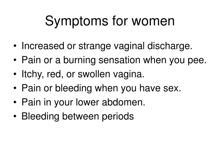 Symptoms for women
