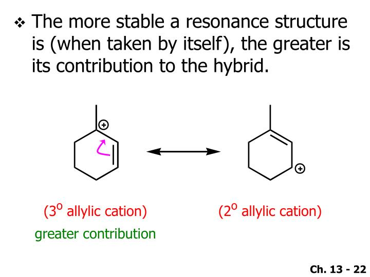 The more stable a resonance structure is (when taken by itself), the greater is its contribution to the hybrid.