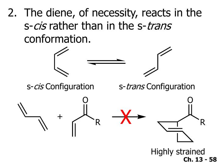 The diene, of necessity, reacts in the s-
