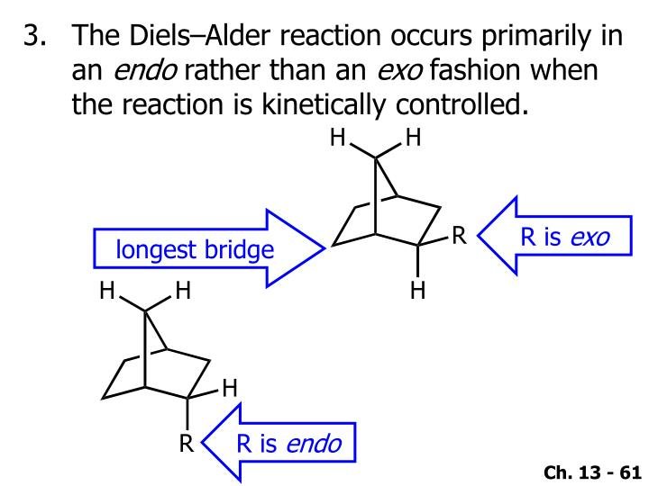 The Diels–Alder reaction occurs primarily in an