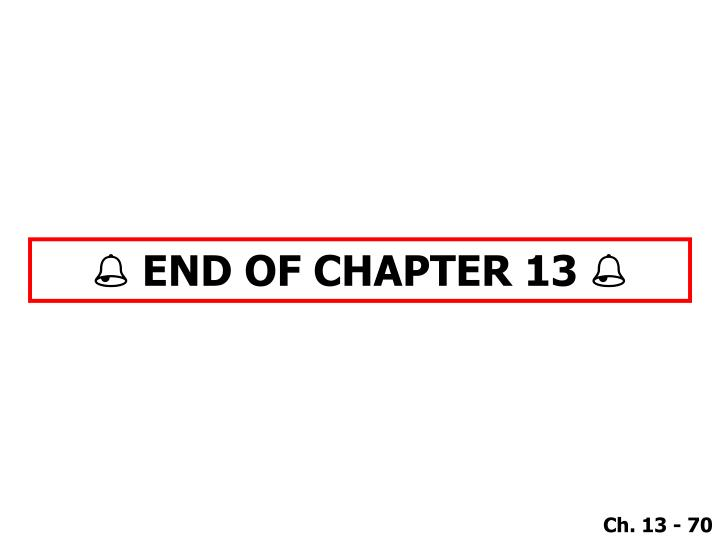  END OF CHAPTER 13 