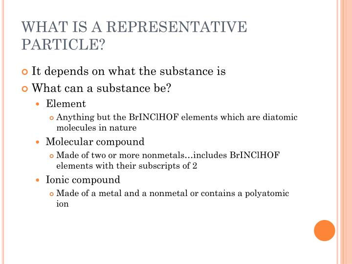 What is a representative particle