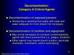 decontamination category a critical agents
