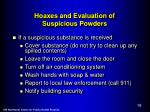 hoaxes and evaluation of suspicious powders