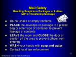 mail safety handling suspicious packages or letters with a threatening message
