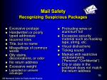 mail safety recognizing suspicious packages