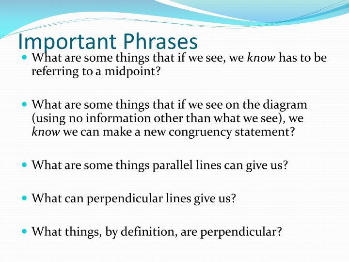 Important phrases