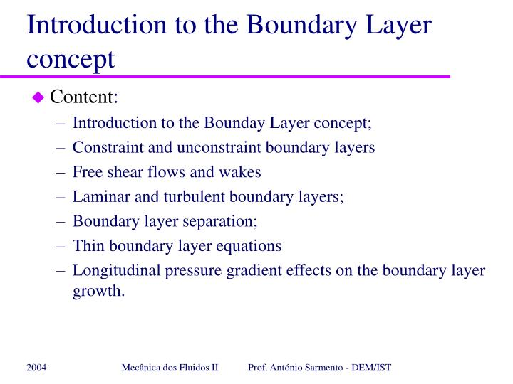 introduction to the boundary layer concept n.