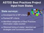 astdd best practices project input from states
