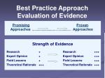 best practice approach evaluation of evidence