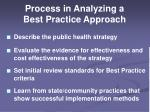 process in analyzing a best practice approach