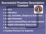 successful practice description content