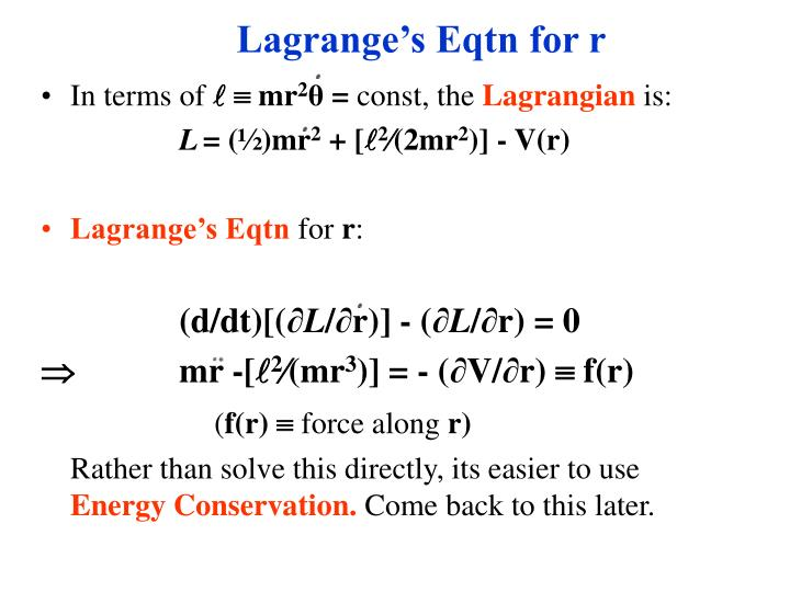 Lagrange's Eqtn for r