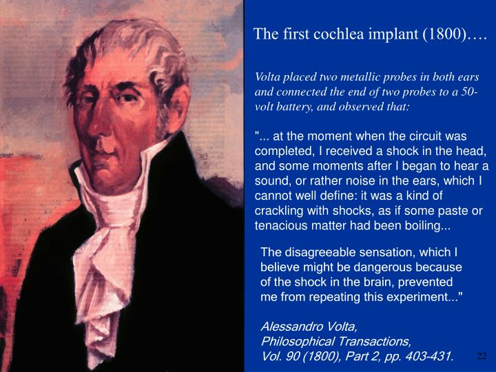 The first cochlea implant (1800)….
