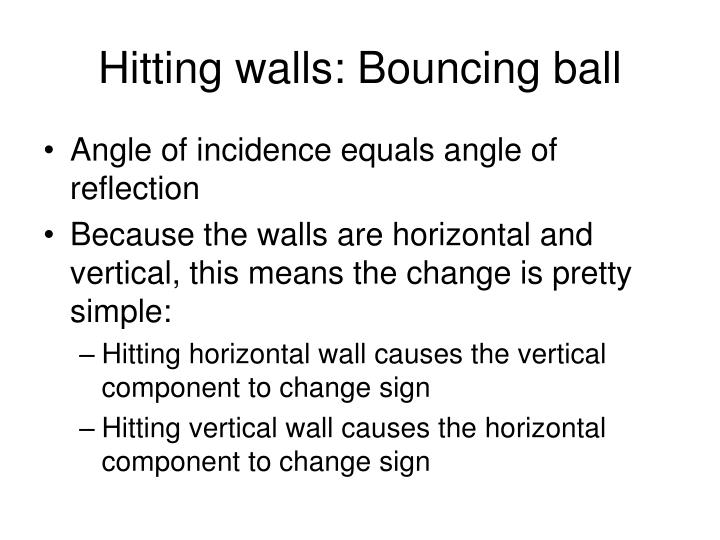 Hitting walls: Bouncing ball