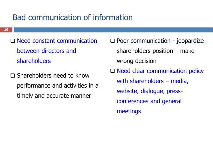 Bad communication of information