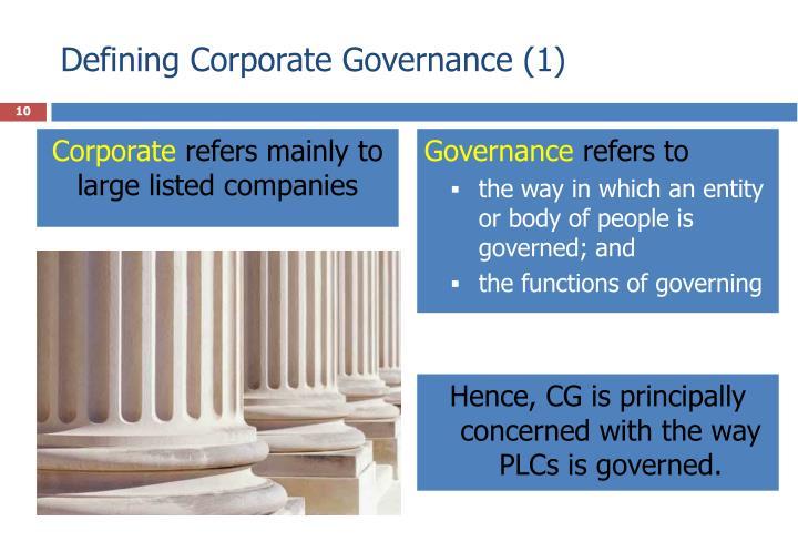 Defining Corporate Governance (1)