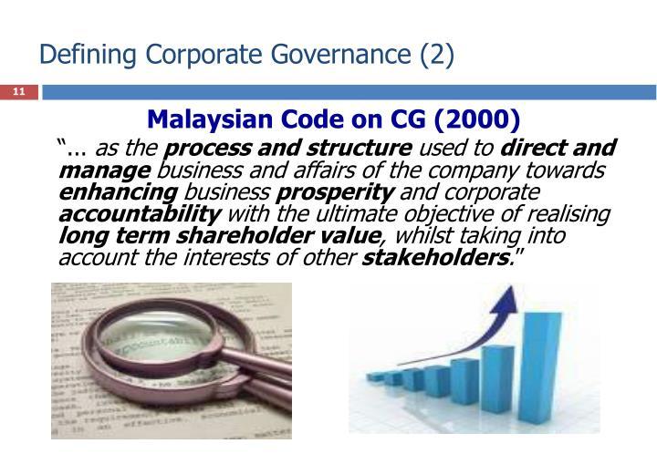 Defining Corporate Governance (2)