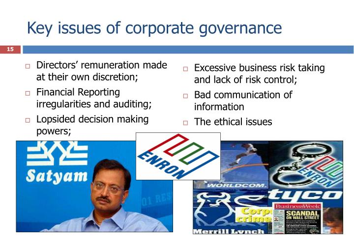 Key issues of corporate governance