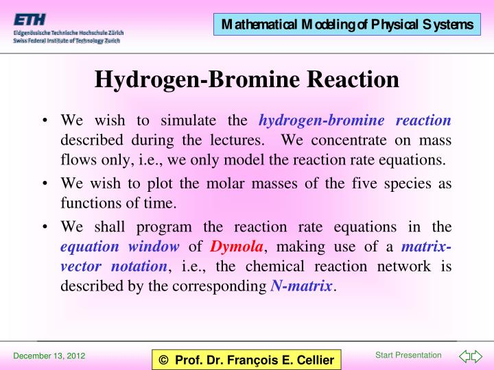Hydrogen bromine reaction