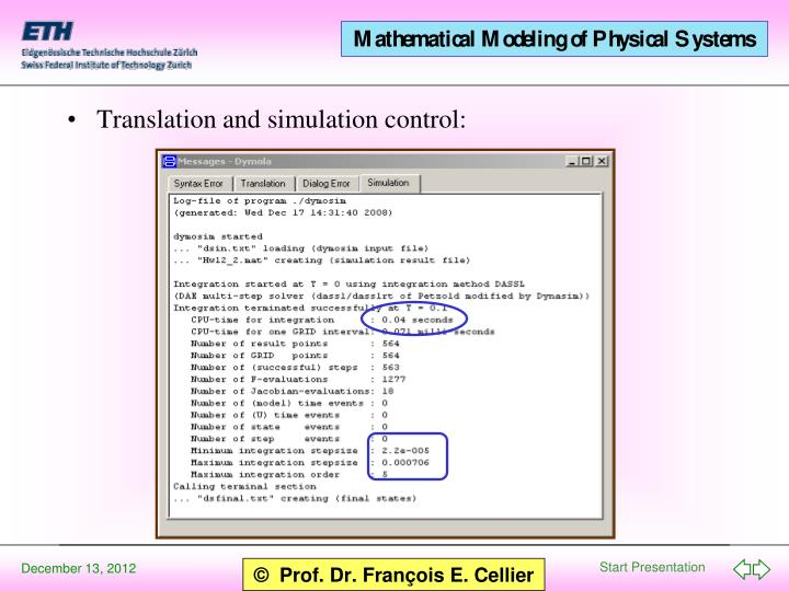Translation and simulation control: