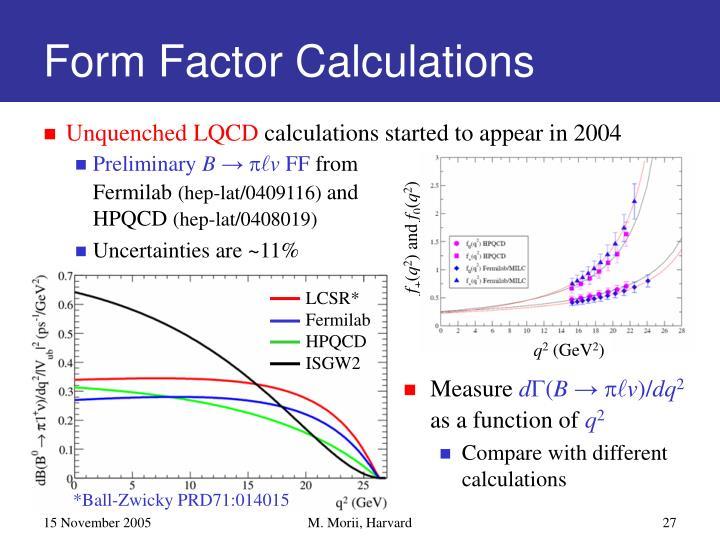 Form Factor Calculations