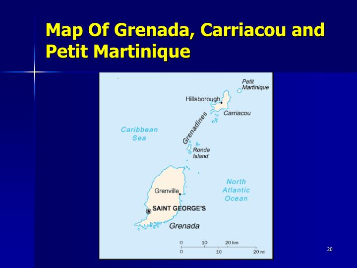 Map Of Grenada, Carriacou and Petit Martinique