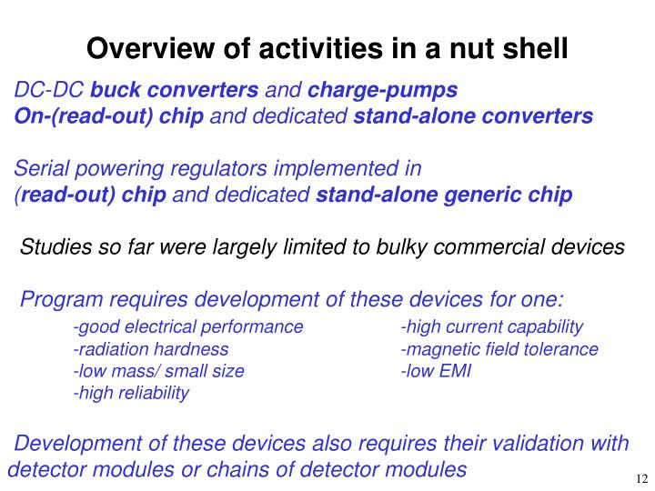 Overview of activities in a nut shell