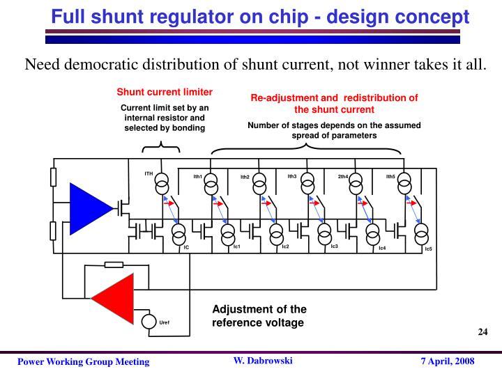 Full shunt regulator on chip - design concept