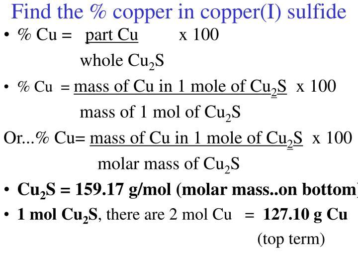 Find the % copper in copper(I) sulfide