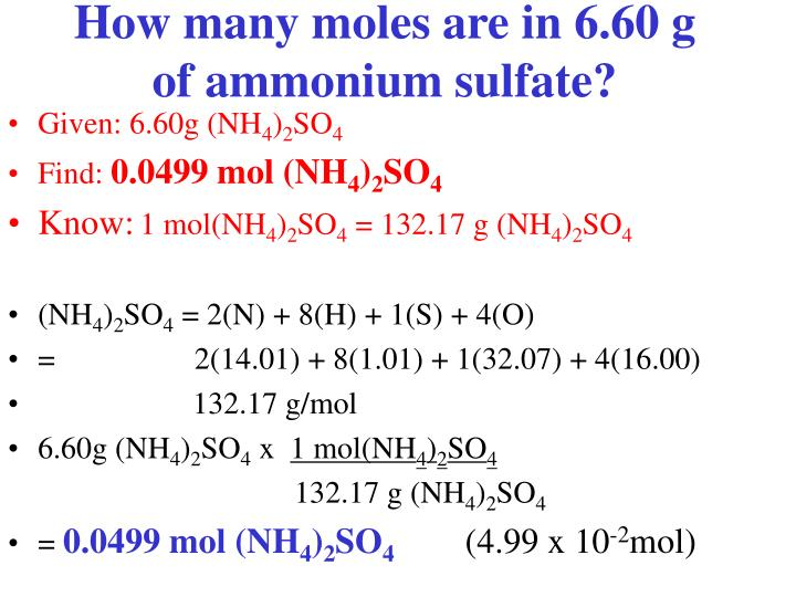How many moles are in 6.60 g of ammonium sulfate?
